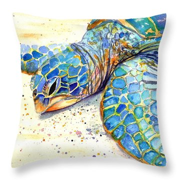 Turtle At Poipu Beach 4 Throw Pillow by Marionette Taboniar