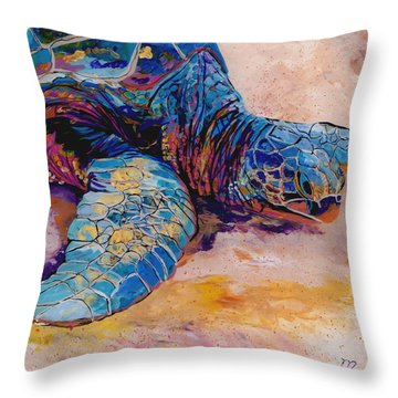Turtle At Poipu Beach 6 Throw Pillow by Marionette Taboniar
