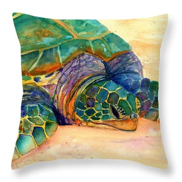 Turtle At Poipu Beach 7 Throw Pillow by Marionette Taboniar