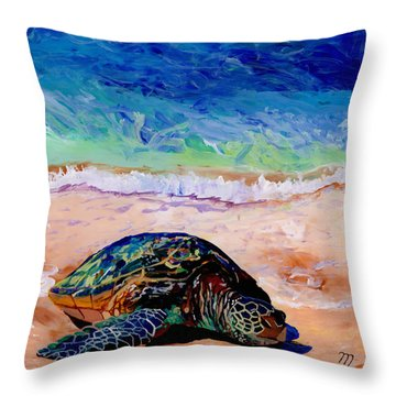 Turtle At Poipu Beach 9 Throw Pillow by Marionette Taboniar