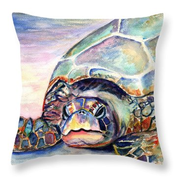 Turtle At Poipu Beach Throw Pillow