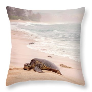 Turtle Beach Throw Pillow by Heather Applegate