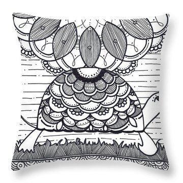Throw Pillow featuring the drawing Turtle by Caroline Sainis
