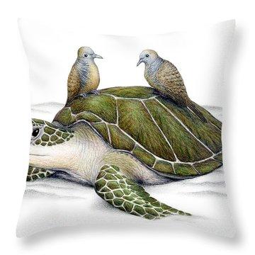 Turtle Doves Throw Pillow