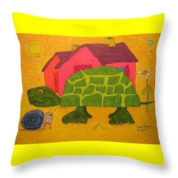 Turtle In Neighborhood Throw Pillow