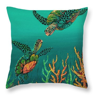 Throw Pillow featuring the painting Turtle Love by Darice Machel McGuire