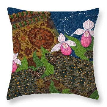 Throw Pillow featuring the painting Turtle - Mihkinahk by Chholing Taha