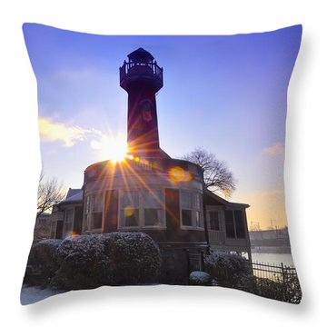 Turtle Rock Light House At Sunrise Throw Pillow by Bill Cannon
