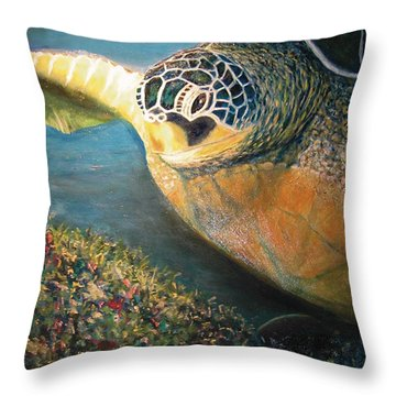 Throw Pillow featuring the painting Turtle Run by Karen Zuk Rosenblatt