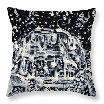 Throw Pillow featuring the painting Turtle Walking Under A Starry Sky by Fabrizio Cassetta