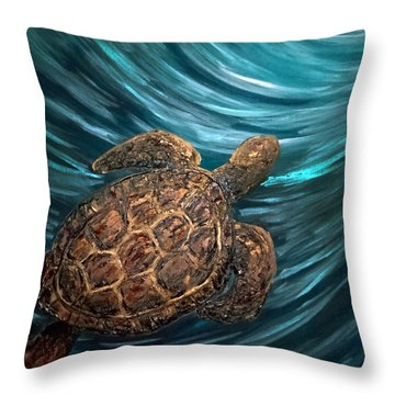 Turtle Wave Deep Blue Throw Pillow