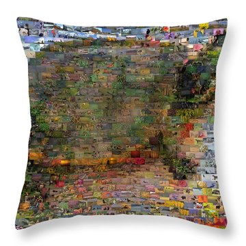 Throw Pillow featuring the mixed media Turtle Wild Animals Mosaic by Paul Van Scott
