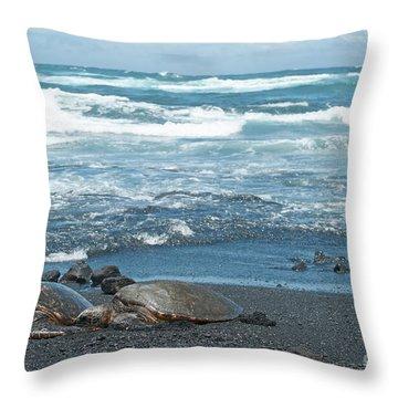 Turtles On Black Sand Beach Throw Pillow