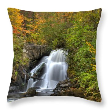 Turtletown Creek Falls Throw Pillow by Debra and Dave Vanderlaan