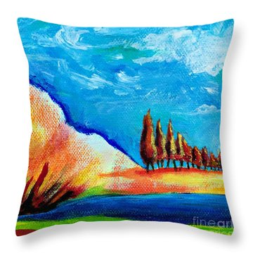 Tuscan Cypress Throw Pillow by Elizabeth Fontaine-Barr