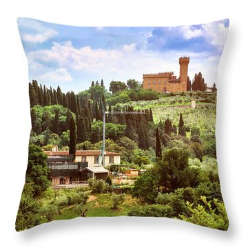 Tuscan Fields And Old Castle In Florence Throw Pillow