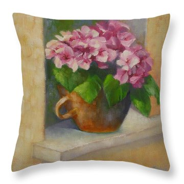 Throw Pillow featuring the painting Tuscan Flower Pot Oil Painting by Chris Hobel