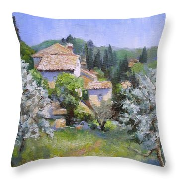 Tuscan  Hilltop Village Throw Pillow by Chris Hobel