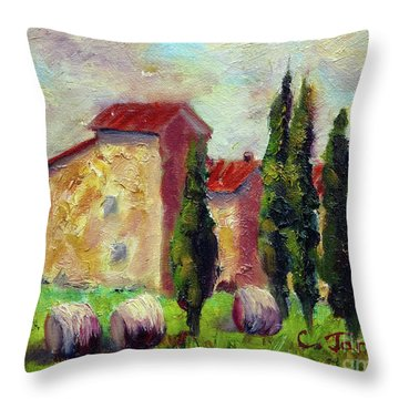 Tuscan House With Hay Throw Pillow