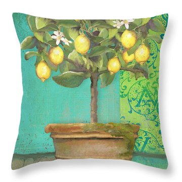 Tuscan Lemon Topiary - Damask Pattern 1 Throw Pillow