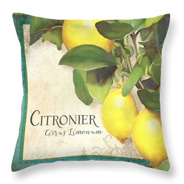 Tuscan Lemon Tree - Citronier Citrus Limonum Vintage Style Throw Pillow