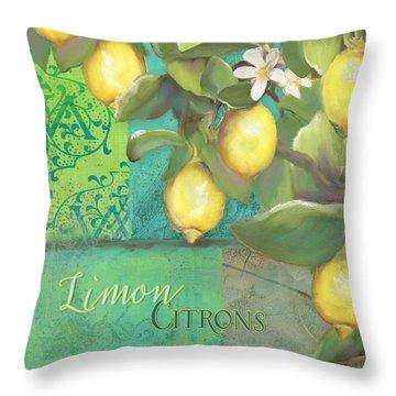 Tuscan Lemon Tree - Damask Pattern 2 Throw Pillow