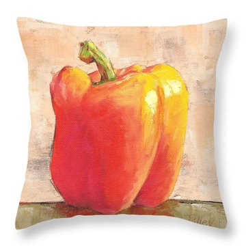 Tuscan Orange Pepper Throw Pillow by Pam Talley