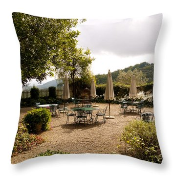 Tuscan Patio Throw Pillow by Rae Tucker