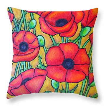 Tuscan Poppies - Crop 1 Throw Pillow by Lisa  Lorenz