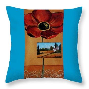Tuscan Poppy Postcard Throw Pillow