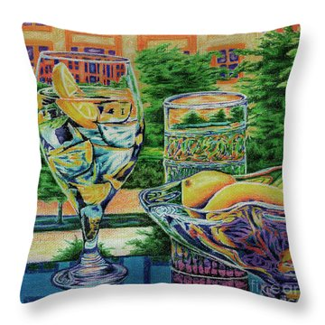 Throw Pillow featuring the drawing Tuscan Summer Lemonade  by Peter Piatt