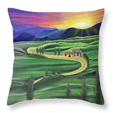 Tuscan Sunset Throw Pillow by Cindy Lee Longhini