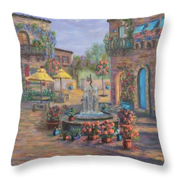 Beautiful Tuscan Villa Flower Garden Fountain Painting Throw Pillow