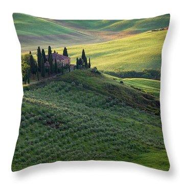 Green Hills Of Val De L' Orca Tuscan Villa Throw Pillow