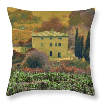 Tuscan Villa Throw Pillow by Karen Lewis