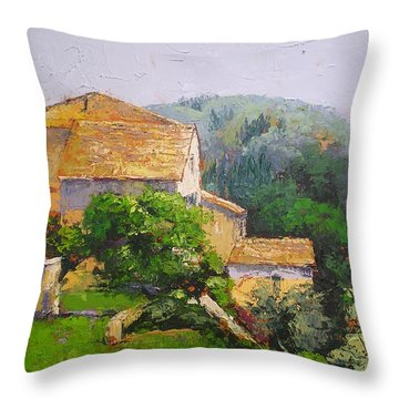 Throw Pillow featuring the painting Tuscan Village by Chris Hobel