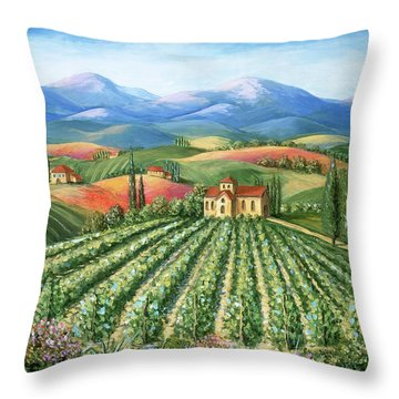 Tuscan Vineyard And Abbey Throw Pillow by Marilyn Dunlap