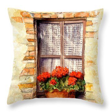 Throw Pillow featuring the painting Tuscan Window by Bonnie Rinier