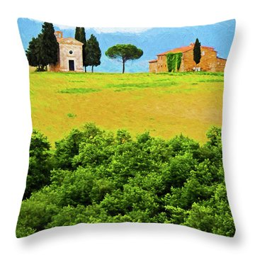 Tuscany Chapel And Farmhouse Throw Pillow by Dennis Cox