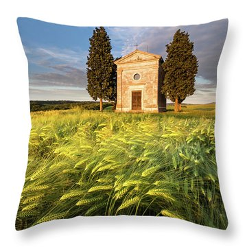 Tuscany Chapel Throw Pillow by Evgeni Dinev