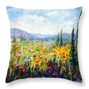 Tuscany Fields Throw Pillow by Lou Ann Bagnall