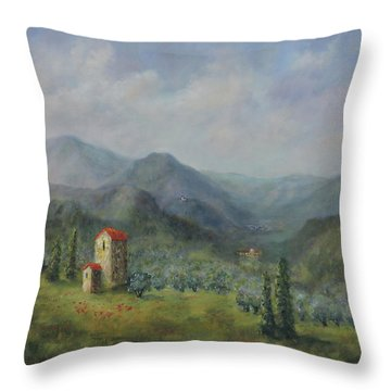 Tuscany Italy Olive Groves Throw Pillow
