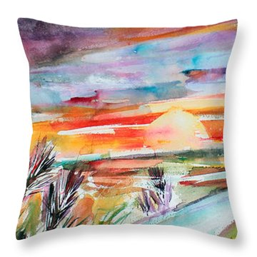 Throw Pillow featuring the painting Tuscany Landscape Autumn Sunset Fields Of Rye by Ginette Callaway
