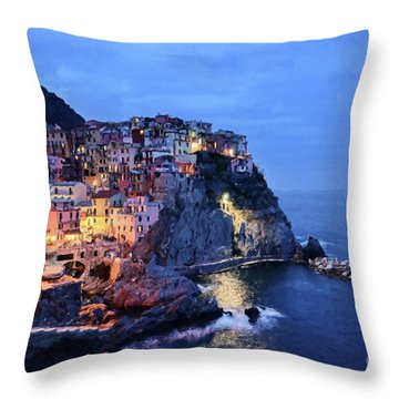 Tuscany Like Amalfi Cinque Terre Evening Lights Throw Pillow