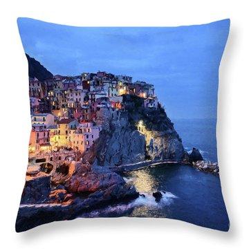 Tuscany Like Amalfi Cinque Terre Evening Lights Throw Pillow