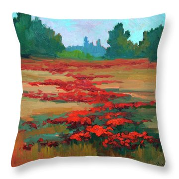 Tuscany Poppy Field Throw Pillow by Diane McClary