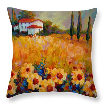 Tuscany Sunflowers Throw Pillow