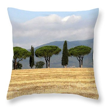 Throw Pillow featuring the digital art Tuscany Trees by Julian Perry