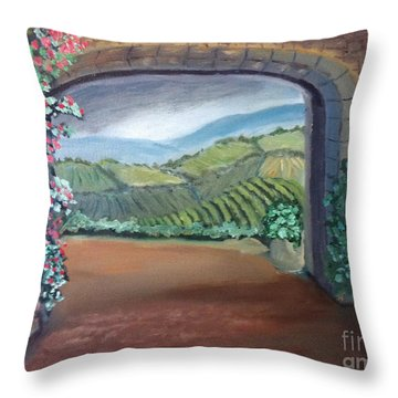 Tuscany Vineyards Through The Archway Throw Pillow