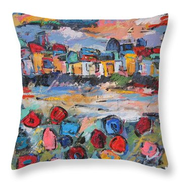 Tuscany With Flowers  Throw Pillow